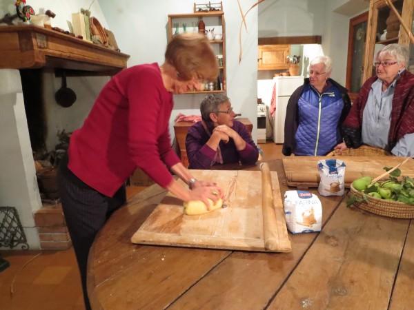 Estelle rolling pasta dough