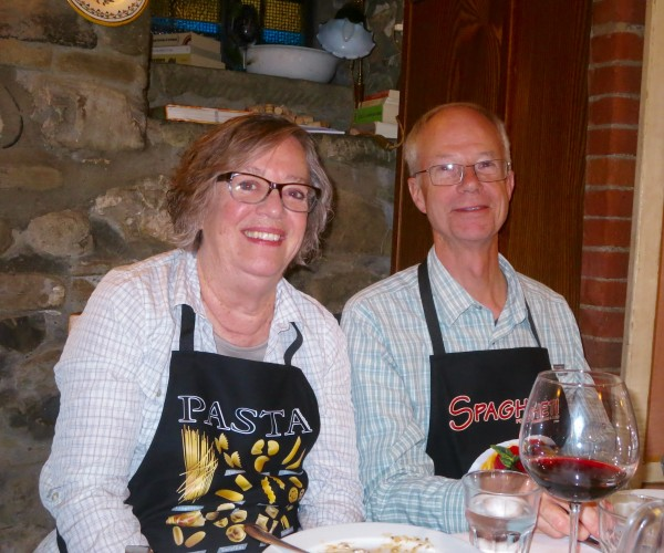 a brief pause  from eating at our cooking class